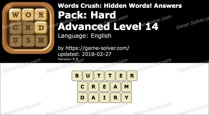 Words Crush Hard-Advanced Level 14 Answers