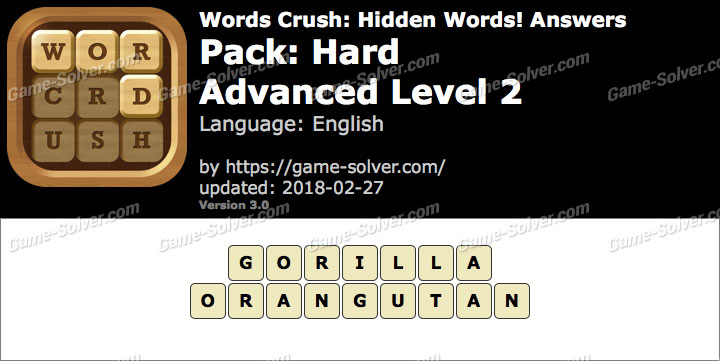 Words Crush Hard-Advanced Level 2 Answers