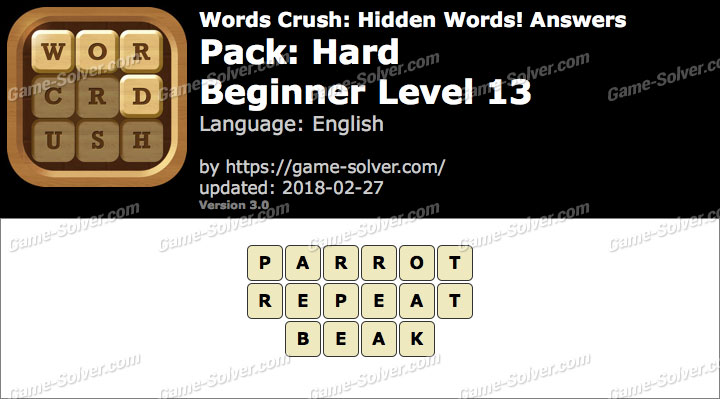 Words Crush Hard-Beginner Level 13 Answers