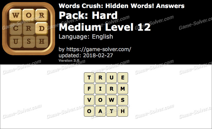 Words Crush Hard-Medium Level 12 Answers