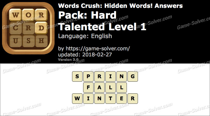 Words Crush Hard-Talented Level 1 Answers
