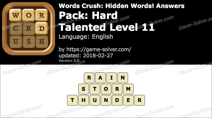 Words Crush Hard-Talented Level 11 Answers
