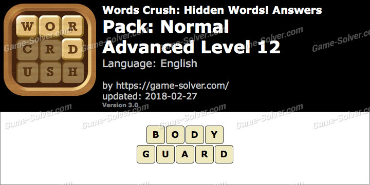 Words Crush Normal-Advanced Level 12 Answers