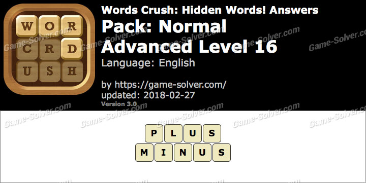 Words Crush Normal-Advanced Level 16 Answers