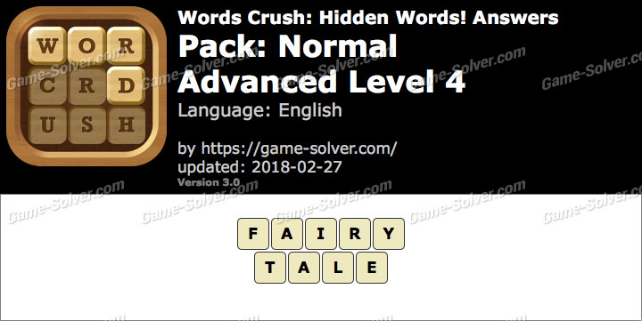 Words Crush Normal-Advanced Level 4 Answers