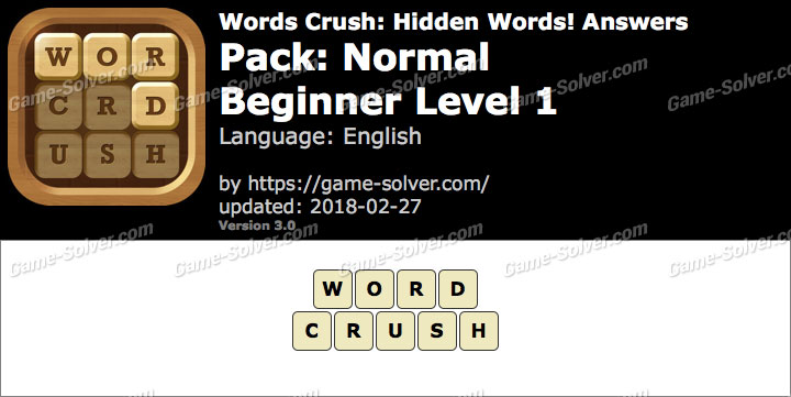 Words Crush Normal-Beginner Level 1 Answers