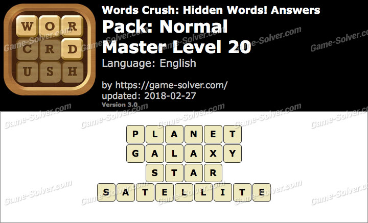 Words Crush Normal-Master Level 20 Answers