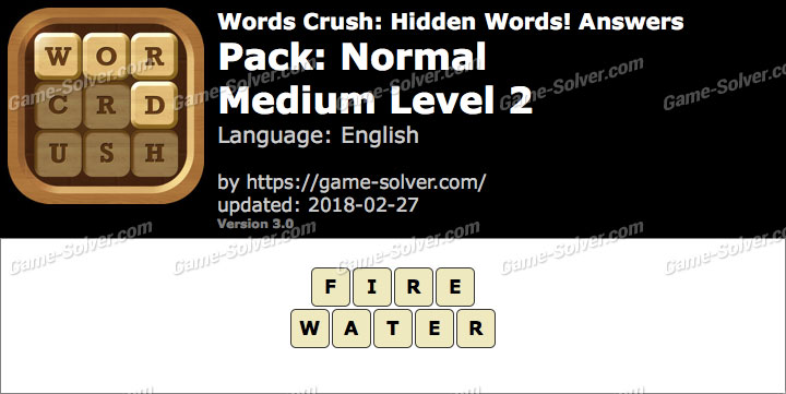 Words Crush Normal-Medium Level 2 Answers