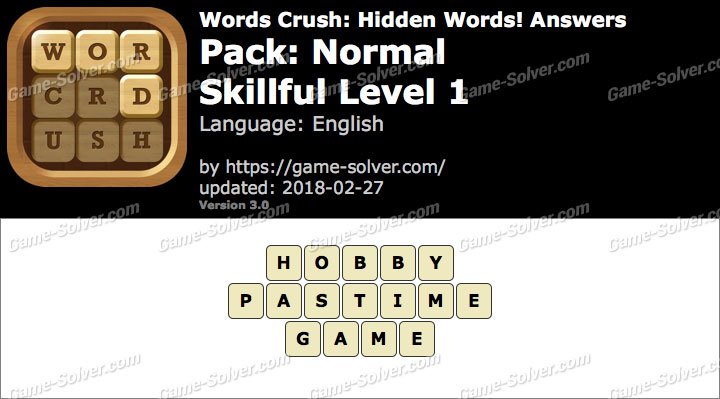 Words Crush Normal-Skillful Level 1 Answers