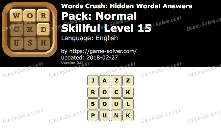 Words Crush Normal-Skillful Level 15 Answers