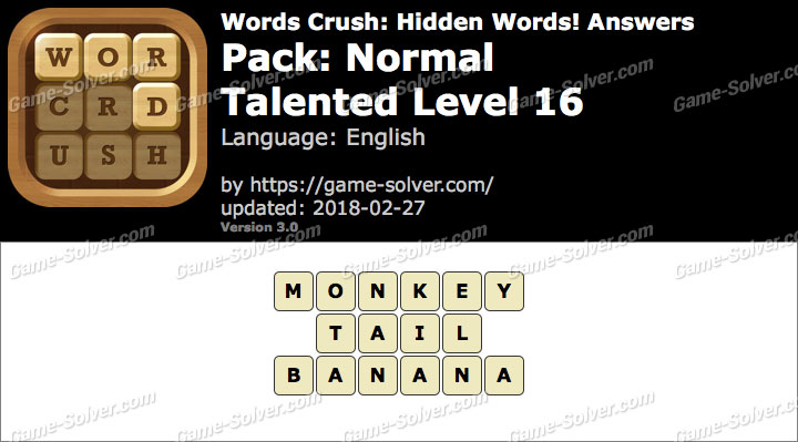 Words Crush Normal-Talented Level 16 Answers