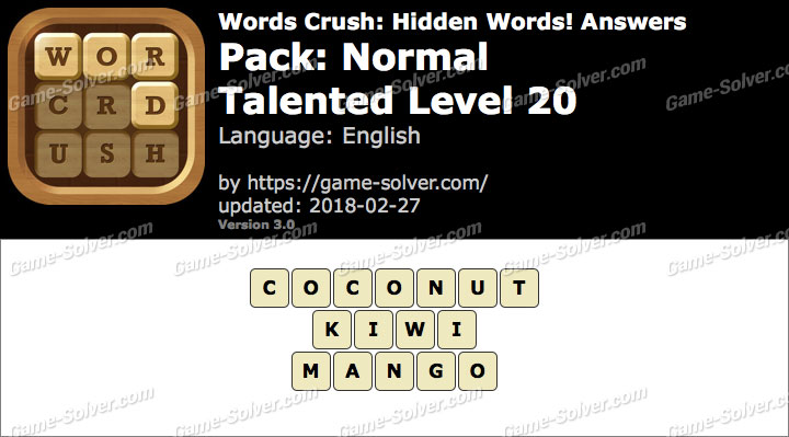 Words Crush Normal-Talented Level 20 Answers