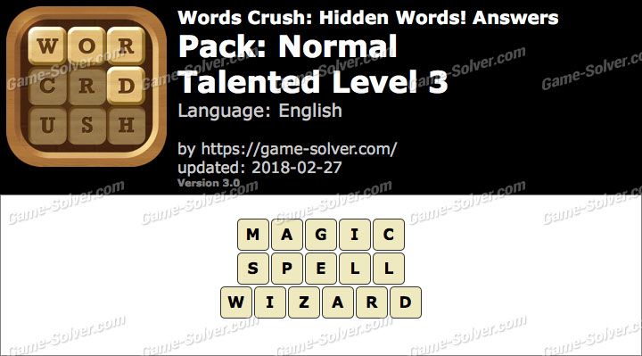 Words Crush Normal-Talented Level 3 Answers