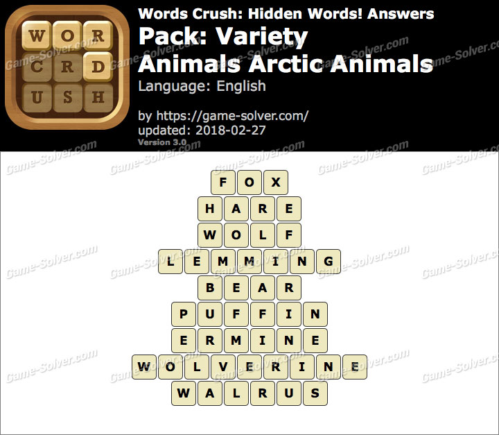 Words Crush Variety-Animals Arctic Animals Answers