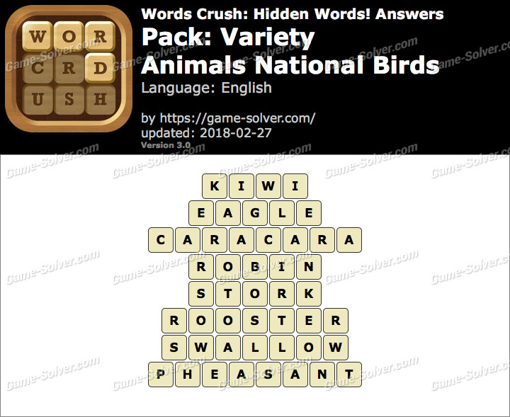 Words Crush Variety-Animals National Birds Answers