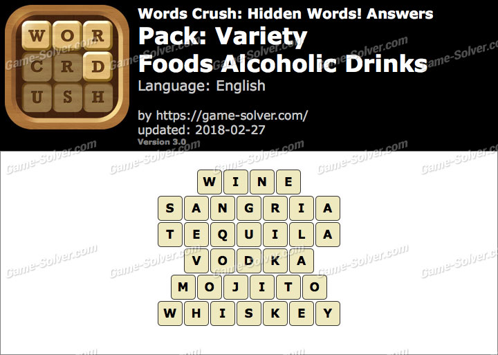 Words Crush Variety-Foods Alcoholic Drinks Answers