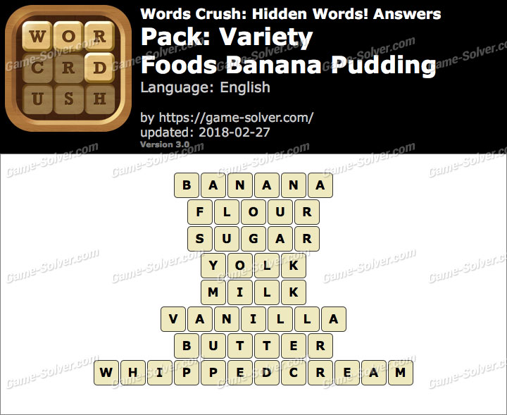 Words Crush Variety-Foods Banana Pudding Answers