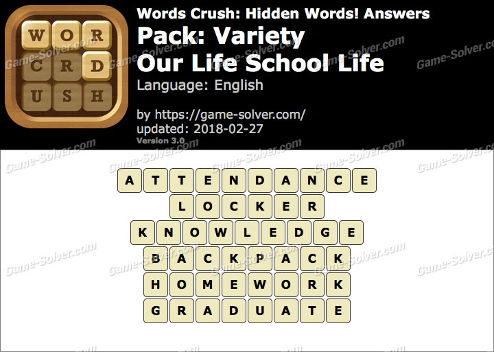 Words Crush Variety-Our Life School Life Answers