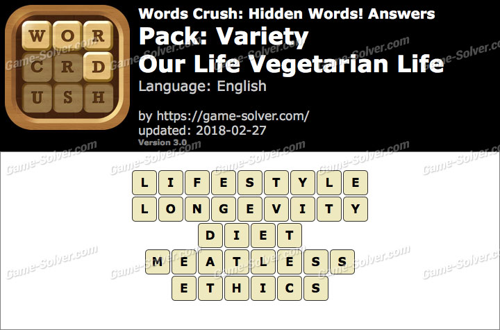 Words Crush Variety-Our Life Vegetarian Life Answers