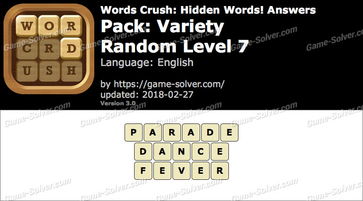Words Crush Variety-Random Level 7 Answers