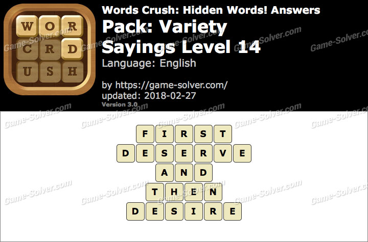 Words Crush Variety-Sayings Level 14 Answers