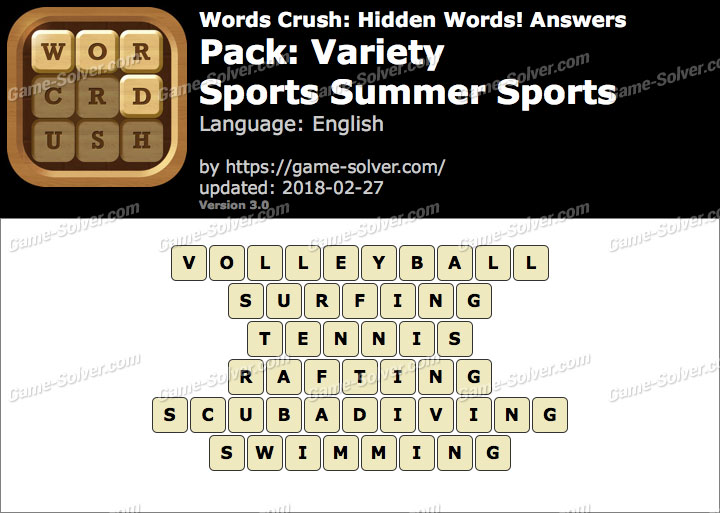 Words Crush Variety-Sports Summer Sports Answers