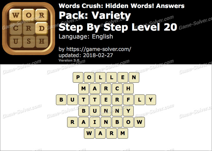 Words Crush Variety-Step By Step Level 20 Answers