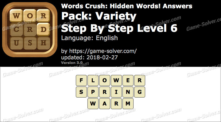 Words Crush Variety-Step By Step Level 6 Answers