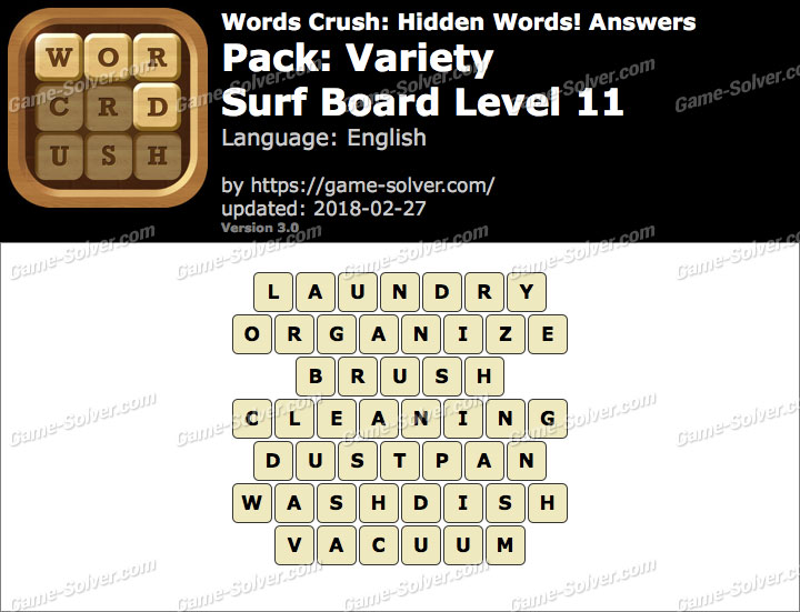 Words Crush Variety-Surf Board Level 11 Answers