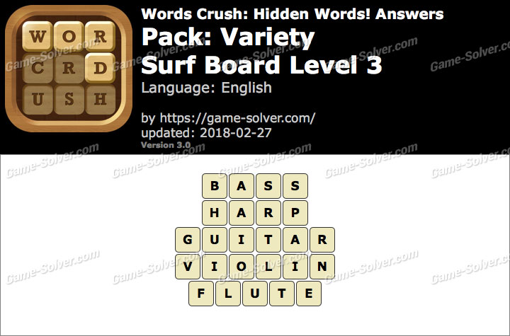 Words Crush Variety-Surf Board Level 3 Answers