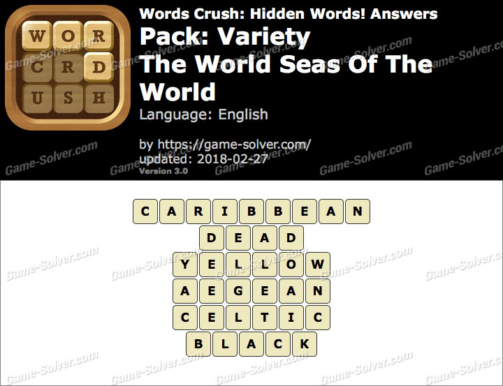 Words Crush Variety-The World Seas Of The World Answers