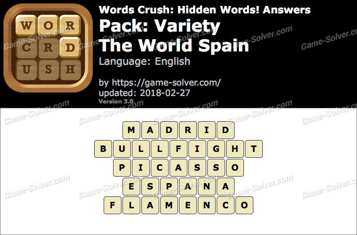 Words Crush Variety-The World Spain Answers