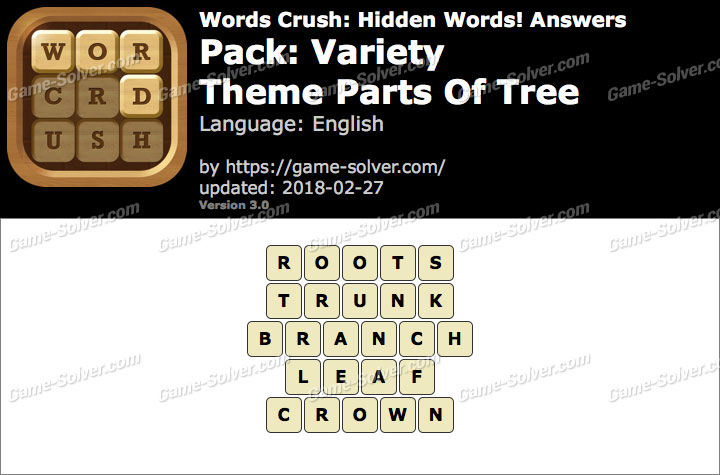 Words Crush Variety-Theme Parts Of Tree Answers