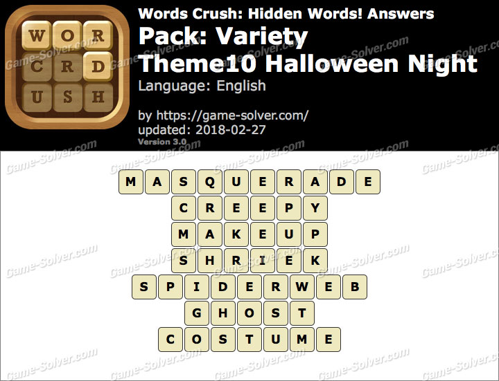 Words Crush Variety-Theme10 Halloween Night Answers