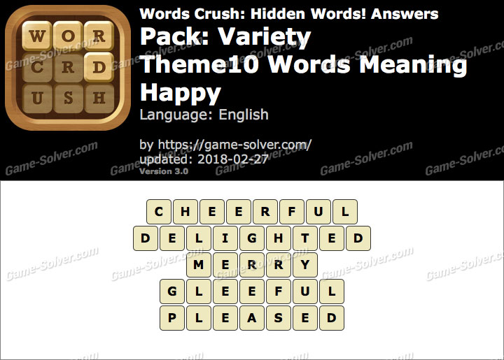 Words Crush Variety-Theme10 Words Meaning Happy Answers