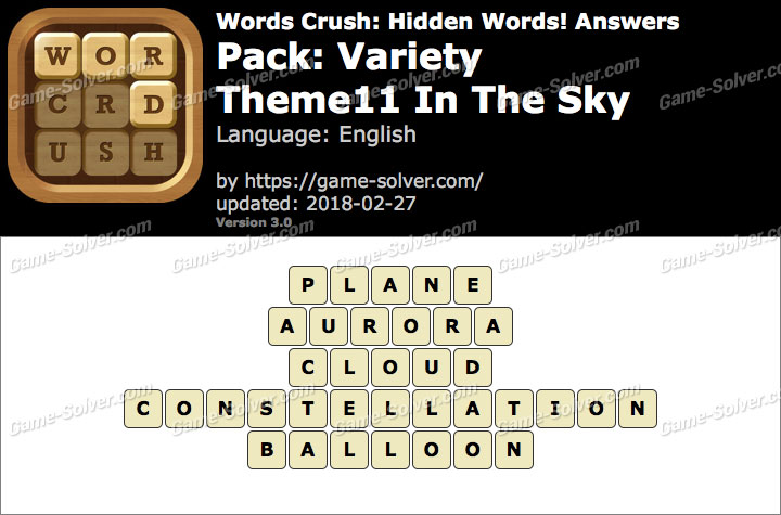 Words Crush Variety-Theme11 In The Sky Answers