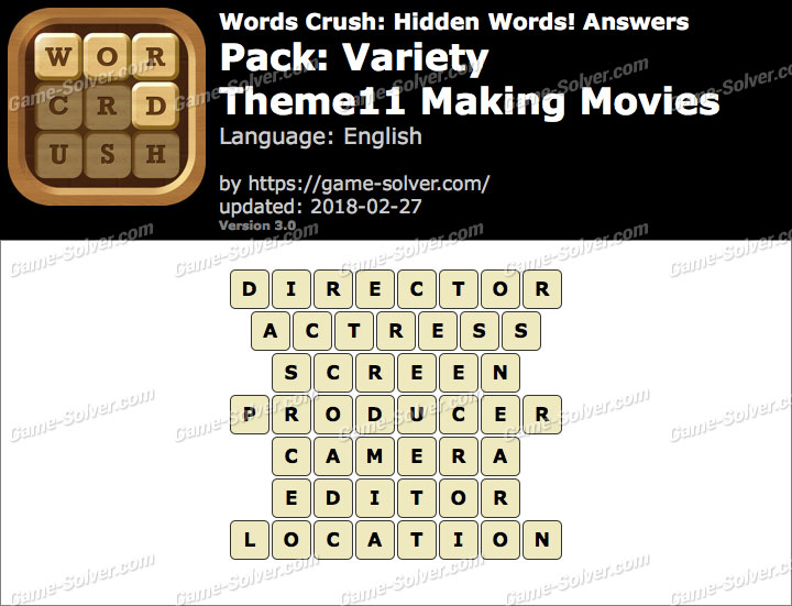 Words Crush Variety-Theme11 Making Movies Answers