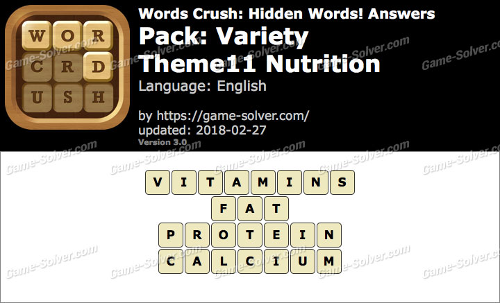 Words Crush Variety-Theme11 Nutrition Answers