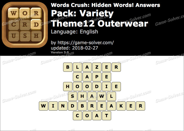 Words Crush Variety-Theme12 Outerwear Answers