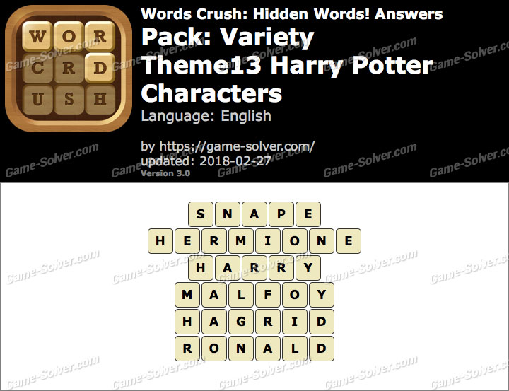 Words Crush Variety-Theme13 Harry Potter Characters Answers