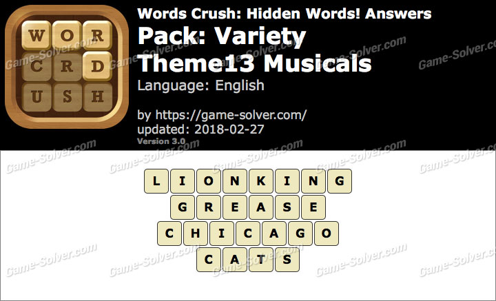 Words Crush Variety-Theme13 Musicals Answers