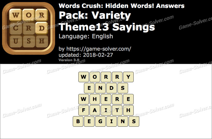Words Crush Variety-Theme13 Sayings Answers