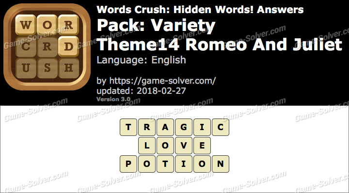 Words Crush Variety-Theme14 Romeo And Juliet Answers