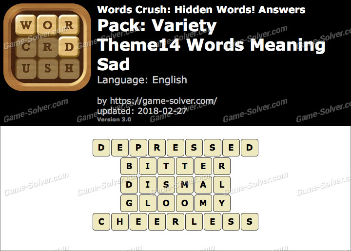 Words Crush Variety-Theme14 Words Meaning Sad Answers