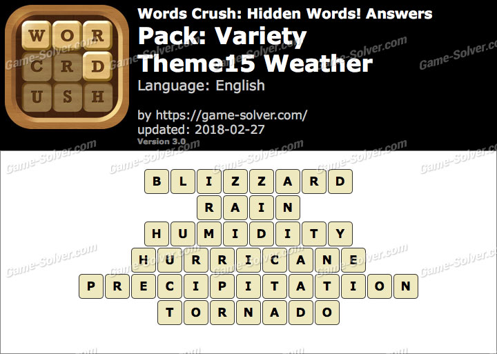 Words Crush Variety-Theme15 Weather Answers
