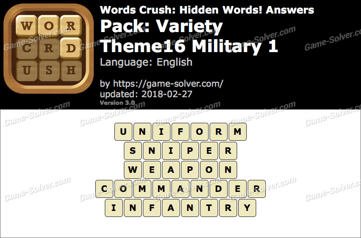 Words Crush Variety-Theme16 Military 1 Answers