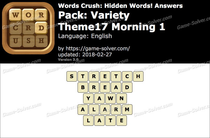 Words Crush Variety-Theme17 Morning 1 Answers