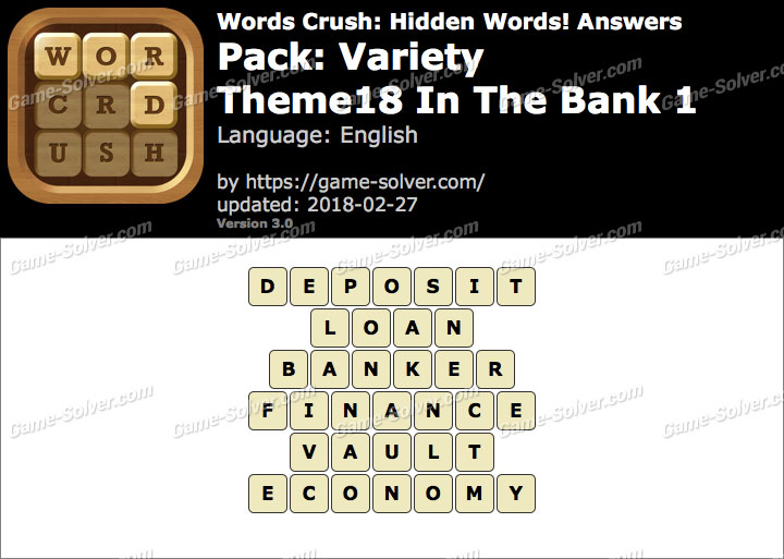 Words Crush Variety-Theme18 In The Bank 1 Answers