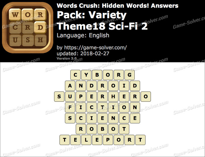 Words Crush Variety-Theme18 Sci-Fi 2 Answers