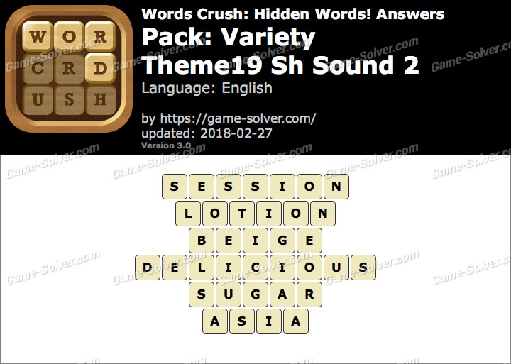 Words Crush Variety-Theme19 Sh Sound 2 Answers